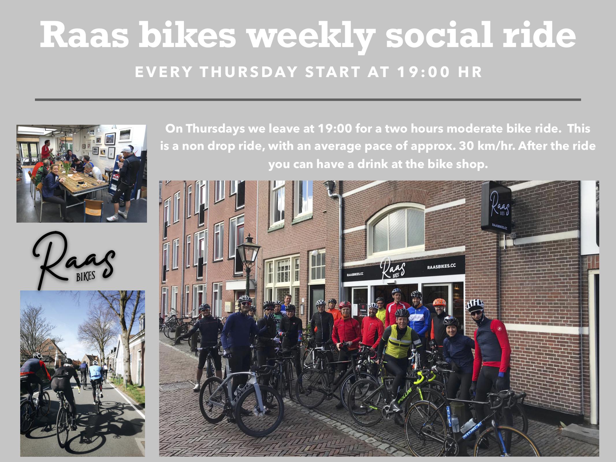 RaaS bikes organiseert iedere week een gezamenlijke rit.
